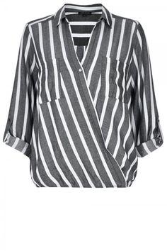 River Island Grey Stripe Wrap Front V Neck Blouse, £36