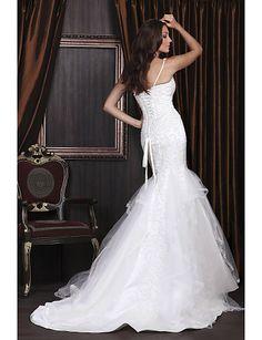 Trumpet/ Mermaid Sweetheart Court Train Satin Tulle Wedding Dress - USD $ 299.99