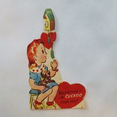 1950s Vintage Valentine card die cut little girl and dog in front of cuckoo clock by KerrysBungalow, $5.00