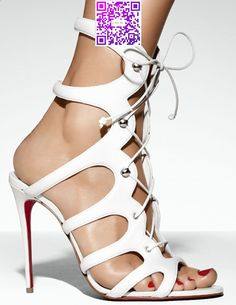 Christian Louboutin Amazoulo 100 lace-up suede sandal in white leather