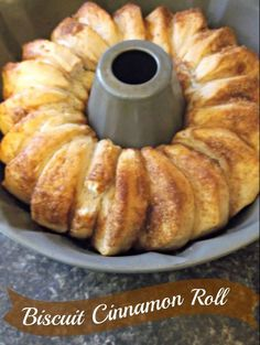 Pull Apart Cinnamon Rolls made in a bundt pan with pillsbury biscuits, cinnamon, sugar, butter and maple syrup