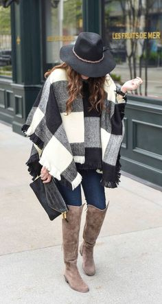 Plaid poncho & OTK Boots, a perfect outfit for winter Winter Outfits 2017, Stylish Winter Outfits, Winter Fashion Outfits, Autumn Winter Fashion, Fall Outfits, Cute Outfits, Fall Fashion, Poncho Outfit, Winter Stil