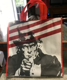 "Qty of 1 Reusable Shopping Bags with Uncle Sam ""I want You"" and US Flag ""New"""