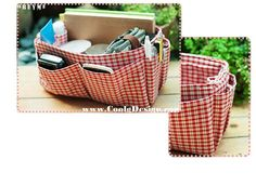 Purse organizer extra sturdy red plaid large Looking for the Christmas gift? Purse organizer made from high quality cotton fabric. A FAST AND EASY WAY TO CHANGE PURSES - a great Purse organizer that you can lift out of one bag and drop into another when you want to switch purses quickly and