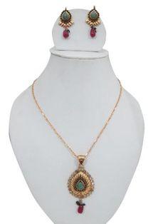 Indian Gold Plated Kundan Polki Necklace Pendant Bollywood  #Indian #Gold #Plated #Kundan #Polki #Necklace #Pendant #Bollywood