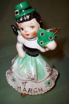Vintage Lefton Leperchaun/March Figurine-Birthday Angel-St. Patricks Day (08/19/2013)