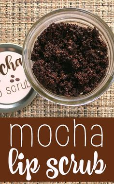 Homemade mocha lip scrub is super simple to make - made with oil, cocoa, and coffee. This is a fun gift idea for family and friends.
