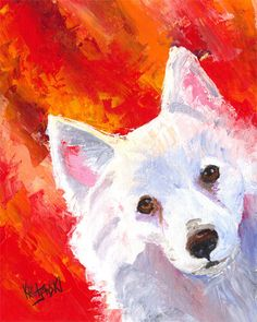 American Eskimo dog painting by Brigid McHugh Jones. www ...