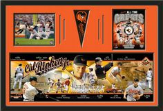 Two framed 8 x 10 inch Baltimore Orioles photos of Baltimore Orioles All Time Greats with a Baltimore Orioles mini pennant and player/team photoramic, double matted in team colors to 36 x 24 inches.  The lines show the bottom mat color.  (Pennant design subject to change)  $219.99 @ ArtandMore.com