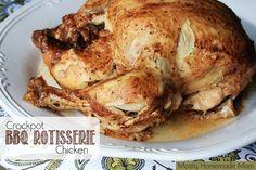 Crockpot BBQ Rotisserie Chicken - BBQ sauce, lemon juice, Italian seasoning, & garlic - so juicy and SO easy!! www.mostlyhomemademom.com