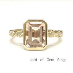 Emerald Cut Morganite Engagement Ring Pave Diamond Wedding 14K Yellow Gold 6x8mm  Art Deco - Lord of Gem Rings - 1
