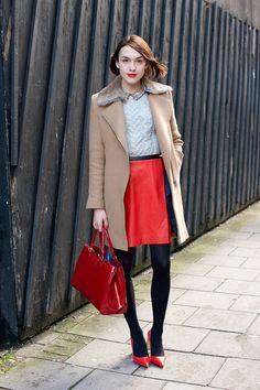 ella caitliff for Glamour. Brighten neutrals with cherry-red