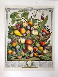 Robert Furber Twelve Months of Fruits: July Etching Print, 1970, Penn Prints #Vintage