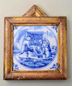 Auction House: Holloways Auctioneers Date: Tuesday 10 December 2013 An 18th century Dutch Delft tile, painted cobalt blue nativity scene, mounted in a gilt wood frame, tile 12.5 cm (5 in) square