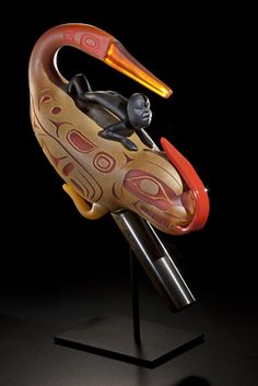"Preston Singletary, ""The Rattle that Sang to Itself"".  ""When I began to experiment with using designs from my Tlingit cultural heritage my work began to take on a new purpose and direction. My work with glass transforms the notion that Native artists are only best when traditional materials are used. It has helped advocate on the behalf of all indigenous people—affirming that we are still here—that that we are declaring who we are through our art in connection to our culture."""
