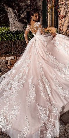 """Nora Naviano 2019 Wedding Dresses — """"Voyage"""" Bridal Collection nora naviano 2019 bridal long sleeves sweetheart neckline full embellishment princess romantic ball gown a line wedding dress sheer button back royal train bv -- Nora Naviano 2019 Wedding D Sheer Wedding Dress, Dream Wedding Dresses, Bridal Dresses, Wedding Gowns, Bridesmaid Dresses, Lace Wedding, Dress Lace, Modest Wedding, Stunning Wedding Dresses"""