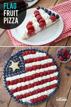This red, white and blue American flag fruit pizza is the perfect dessert for of July! Click through for the easy recipe. Fourth of July or Memorial Day. of july food desserts homemade recipe Easy + delicious American flag fruit pizza - It's Always Autumn Fruit Pizza Cups, Fruit Pizza Frosting, Easy Fruit Pizza, Recipe For Fruit Pizza, Granola, Muesli, Blue Desserts, 4th Of July Desserts, Fourth Of July Food