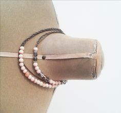necklace vintage style, romantic colors, bronze and antique rose by BelledeJourVintage on Etsy