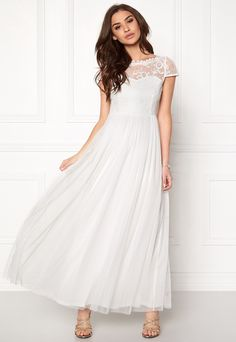 VILA Ulricana s/s Maxi Dress Snow White - Bubbleroom