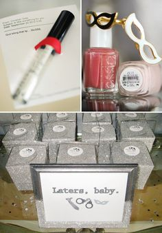 "– ""Laters Baby"" goody bags with ""Quit Biting That Lip… Gloss,"" and ""Like to Be Bad"" nail polish"