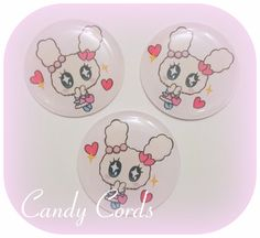 60 Super Cute Kawaii Bunny Epoxy Domes Epoxy Dots Pendants Hair Bow Centre 1 Inch by CandyCords on Etsy