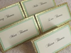 Gold Glitter & Mint Tented Place Cards Escort by WeddingSparkles