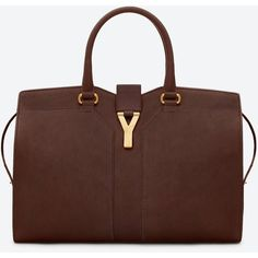 Saint Laurent Medium Cabas Y Bag In Brown Leather ($2,150) ❤ liked on Polyvore
