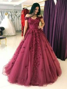 Cheap prom dresses lace appliques prom dresses ball gowns,tulle dress,off shoulder evening gowns Bridal Dresses Online, Cheap Prom Dresses, Formal Dresses, Wedding Dresses, Long Dresses, Dresses Dresses, Quinceanera Dresses Maroon, Burgundy Prom Dresses, Formal Wear