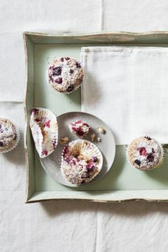 mixed berry coconut muffins