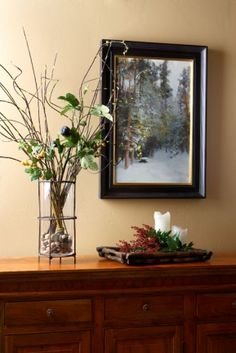 vignette with glass vase and rocks
