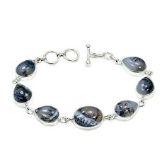 Sterling Silver Dendritic Opal Bracelet, Adjustable From 7-7.5  Price : $89.99 http://www.silverplazajewelry.com/Sterling-Silver-Dendritic-Bracelet-Adjustable/dp/B014EEXQBM
