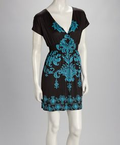 Take a look at this Brown & Blue Dolman Dress by Life and Style Fashions on #zulily today!