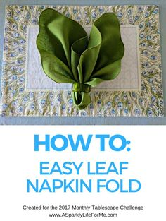 "How To- Easy Leaf Napkin Fold by A Sparkly Life for Me What do you think of when you hear the terms ""modern peacock"" or ""watercolor peacock""? To me, I initially think of THIS wedding ideas board I did back in 2013 which was a themed peacock wedding con… Linen Napkins, Cloth Napkins, Napkin Ring Folding, Wedding Napkin Folding, Wedding Napkins, Tropical Napkins, Thanksgiving Napkin Folds, Wedding Ideas Board, Diner En Blanc"
