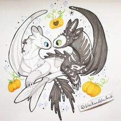 He's My Pumpkin. Halloween is our holiday, and this is certainly a ship to represent us. Not to mention, I have many parts to me and he has a spoopy skeleton association. Toothless And Stitch, Toothless Dragon, Disney Drawings, Cool Drawings, Croque Mou, Dragon Sketch, Dreamworks Dragons, Cute Dragons, Dragon Rider