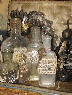 Blinged vintage bottles