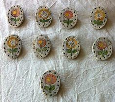 再販【陶器】お花オーバルブローチ/デイジーB