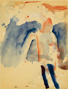 huariqueje: Seated Figure - Nathan Oliveira 1960 American 1928-2010 Watercolor and graphite on paper 12 x 9 inches