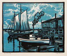 The Blue Tug - color woodcut print circa 1920 - William Seltzer Rice Woodcut Art, Linocut Prints, Art Prints, Block Prints, Image Nature, Boat Art, Linoprint, Wood Engraving, Woodblock Print