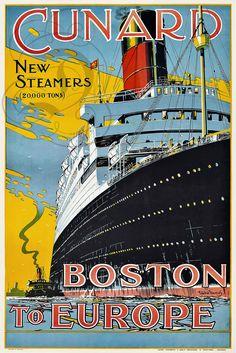 Plaque ALU Deco Repro Affiche Cunard Boston TO Europe Bateau Paquebot Boat | eBay