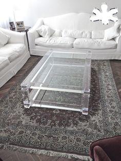 Lucite Acrylic coffe table - Acrylic furniture - TAVOLINI DA SALOTTO IN PLEXIGLASS | Tavolino plexiglass cm.170 x 100 h.42 - telai sp.mm.50 - gambe sez.mm.80 - gola singola sulle gambe