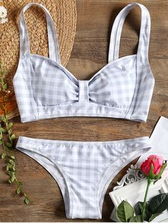 b1e3121f72 Up to 80% OFF! Checked Bow Bikini Swimsuit.  Zaful  Swimwear