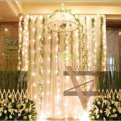 dream-Hanging fabric and vines with twinkle lights behind the . Enchanted Forest Prom, Enchanted Forest Decorations, Prom Decor, Wedding Decorations, Wedding Backdrops, Reception Backdrop, Aisle Decorations, Ceremony Backdrop, Prom Themes