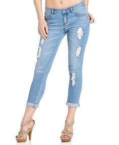 Ripped Destroyed Contrast Stitch Capri Jeans | My Style ...