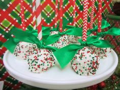 Festive cake pops at an Ugly Sweater party!  See more party ideas at CatchMyParty.com!  #partyideas #uglysweater