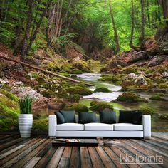 woonkamer fotobehang Mural Wall Art, Outdoor Furniture, Outdoor Decor, Garden Bridge, Wall Prints, Outdoor Structures, Flooring, Doors, Landscape