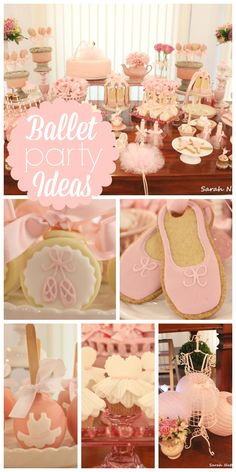 What a lovely pink baby shower with a ballerina theme and ballet slipper cookies and candy apples!  See more party ideas at CatchMyParty.com!