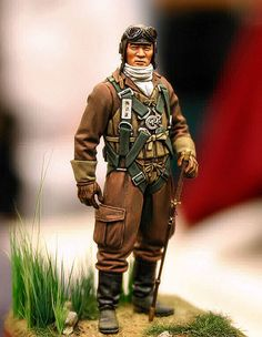 WWII Japanese pilot military miniature.