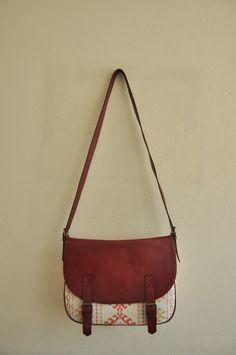 Leather & Canvas Messenger Bag red leather aztec colourful fabric shoulder bag handbag classic