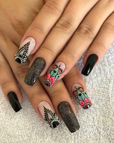 Uñas decoradas con increíble estilo de moda Creative Nail Designs, Beautiful Nail Designs, Beautiful Nail Art, Creative Nails, Nail Art Designs, Pretty Nails, Fun Nails, Mandala Nails, Lace Nails