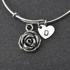 Rose Bangle, Sterling Silver Bangle, Rose Bracelet, Expandable Bangle, Personalized Bracelet, Charm Bangle, Initial Bracelet, Monogram by BangleLand on Etsy